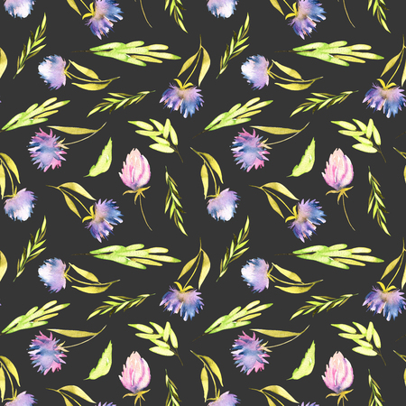 Watercolor purple asters and green leaves seamless pattern, hand painted on a dark background
