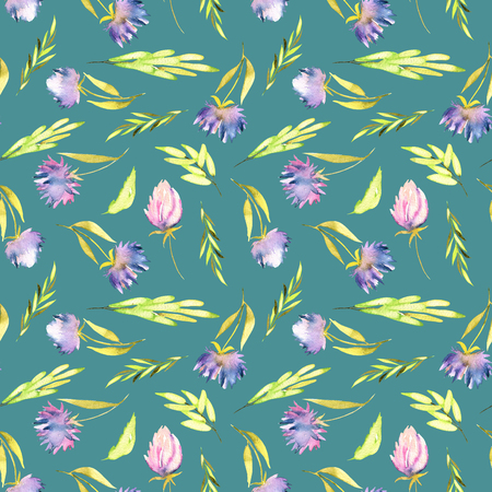 Watercolor purple asters and green leaves seamless pattern, hand painted on a dark green background