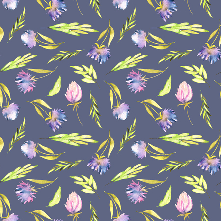 Watercolor purple asters and green leaves seamless pattern, hand painted on a blue background