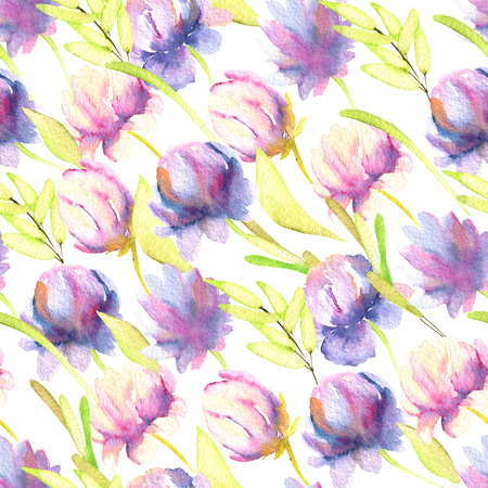 Watercolor pink and purple peonies, green leaves seamless pattern, hand painted on a white background