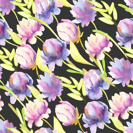 Watercolor pink and purple peony, green leaves seamless pattern, hand painted on a dark background