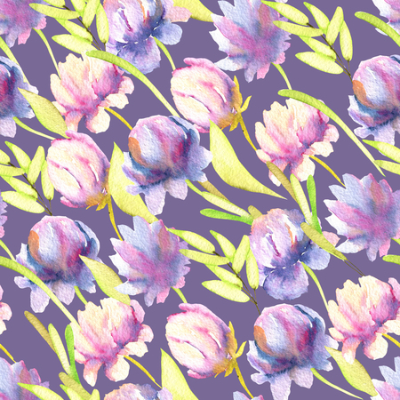 Watercolor pink and purple peonies, green leaves seamless pattern, hand painted on a blue background