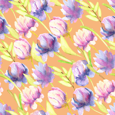 Watercolor pink and purple peonies, green leaves seamless pattern, hand painted on a peach background