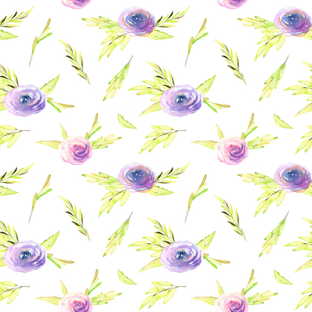 Watercolor pink and purple roses, green branches seamless pattern, hand drawn on a white background Banco de Imagens