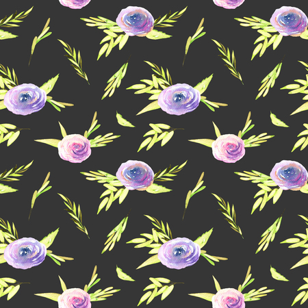 Watercolor pink and purple roses, green branches seamless pattern, hand drawn on a dark background