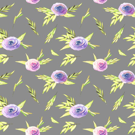 Watercolor pink and purple roses, green branches seamless pattern, hand drawn on a gray background Banco de Imagens