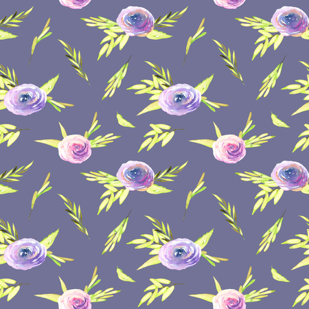 Watercolor pink and purple roses, green branches seamless pattern, hand drawn on a blue background