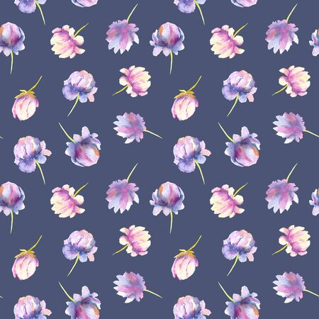 Watercolor pink and purple peony seamless pattern, hand painted on a dark blue background