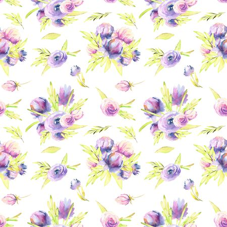 Watercolor purple peony and roses bouquets seamless pattern, hand painted on a white background Banco de Imagens