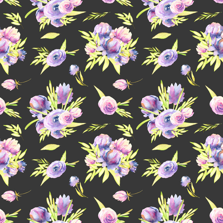 Watercolor purple peony and roses bouquets seamless pattern, hand painted on a dark background Banco de Imagens