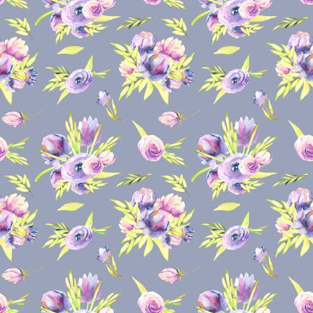 Watercolor purple peony and roses bouquets seamless pattern, hand painted on a gray blue background Banco de Imagens