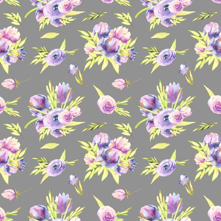 Watercolor purple peony and roses bouquets seamless pattern, hand painted on a gray background