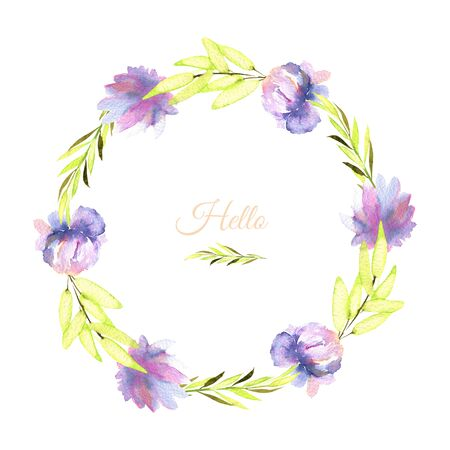 Watercolor purple peony and green branches wreath, greeting card template, hand painted on a white background
