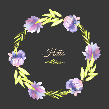 Watercolor purple peony and green branches wreath, greeting card template, hand painted on a dark background