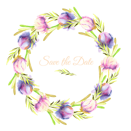 Watercolor pink and purple peony and green branches wreath, greeting card template, hand painted on a white background, Save the Date card design