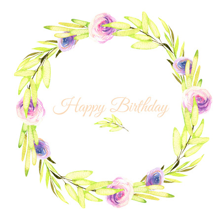 Watercolor pink and purple roses and green branches wreath, greeting card template, hand painted on a white background, Happy Birthday card design