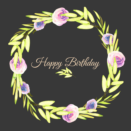 Watercolor pink and purple roses and green branches wreath, greeting card template, hand painted on a dark background, Happy Birthday card design Banco de Imagens