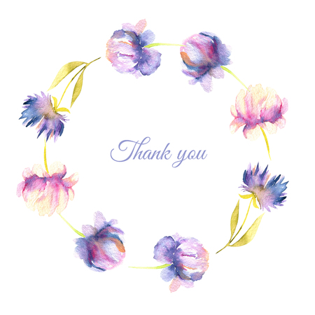 Watercolor pink and purple peony and asters wreath, greeting card template, hand painted on a white background, Thank you card design