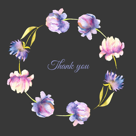 Watercolor pink and purple peonies and asters wreath, greeting card template, hand painted on a dark background, Thank you card design