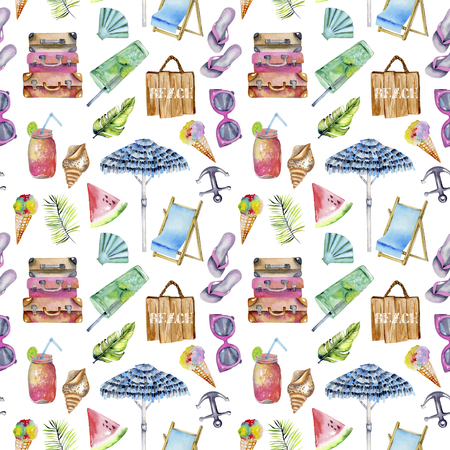 Summer, sea, beach watercolor elements seamless pattern, hand painted on a white background