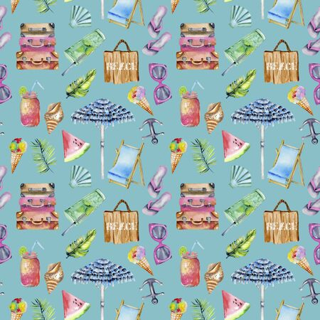 Summer, sea, beach watercolor elements seamless pattern, hand painted on a blue background Stock Photo