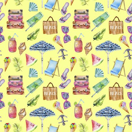 Summer, sea, beach watercolor elements seamless pattern, hand painted on a yellow background