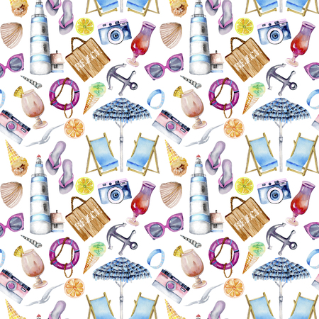 Seamless pattern with watercolor elements on a white background Stock Photo