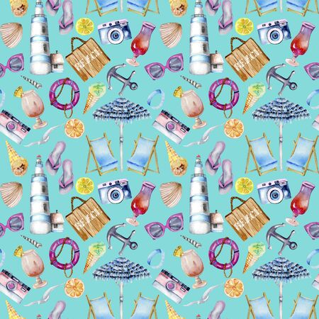 Seamless pattern with watercolor elements on a blue background