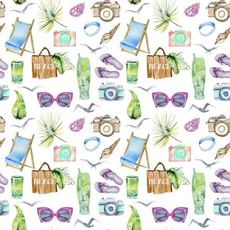 Watercolor summer, sea and beach elements seamless pattern, hand painted on a white background