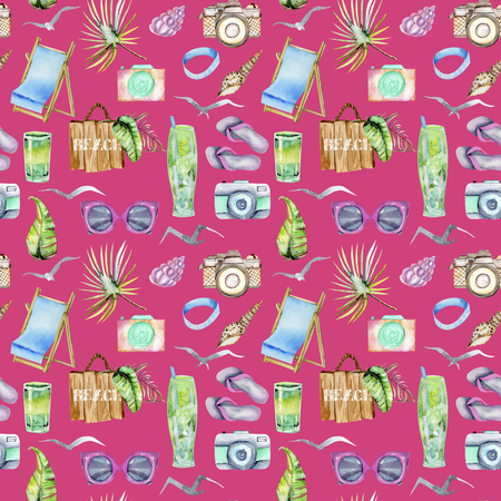 Watercolor summer, sea and beach seamless pattern, hand painted on a pink background