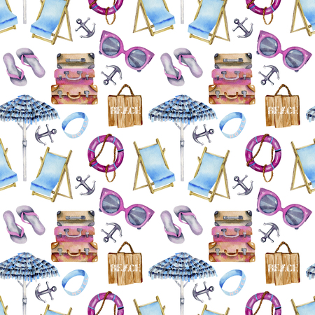 Watercolor seamless pattern on a summer beach, sea and beach theme, hand painted on a white background
