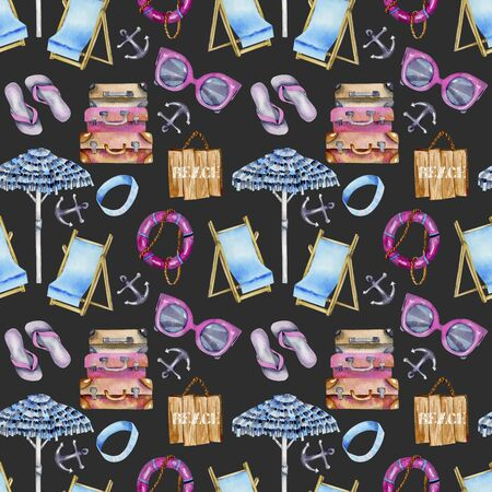 Watercolor seamless pattern on a summer background, sea and beach theme, hand painted on a dark background Stock Photo