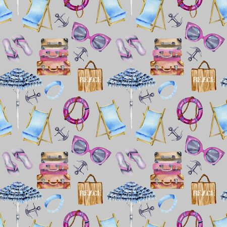 Watercolor seamless pattern on a summer beach, sea and beach theme, hand painted on a gray background Stock Photo