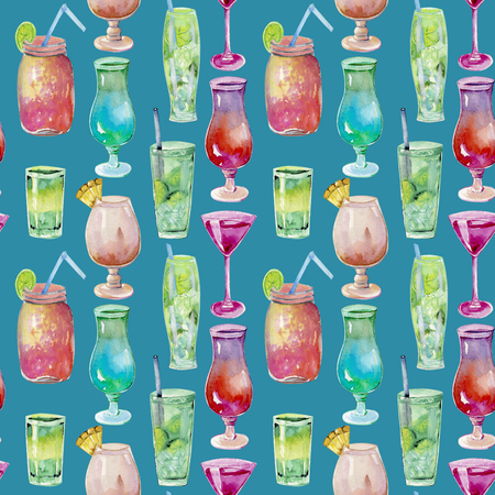 Watercolor cocktails seamless pattern, hand painted on a blue background