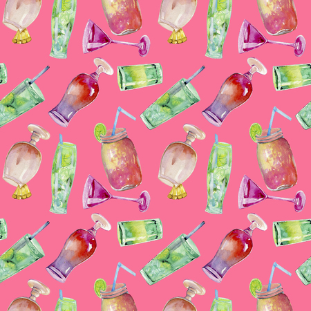 Watercolor cocktails seamless pattern, hand painted on a pink background