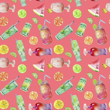 Watercolor cocktails and fruits seamless pattern, hand painted on a pink background