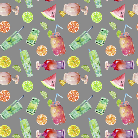 Watercolor cocktails and fruits seamless pattern, hand painted on a gray background Stock Photo