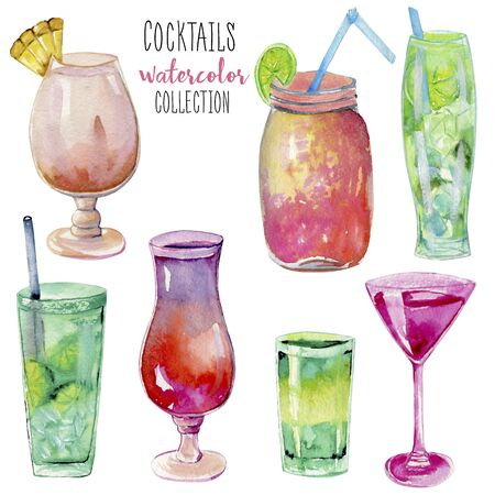 Watercolor cocktails collection, hand painted on a white background Stock Photo