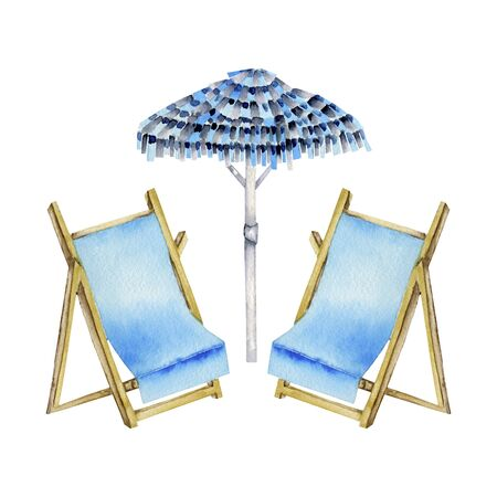 Watercolor beach umbrella and sunbeds illustration, hand painted isolated on a white background