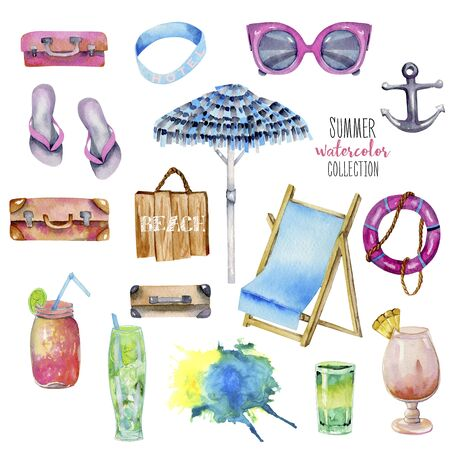 Summer holiday watercolor elements collection, hand painted isolated on a white background Stock Photo