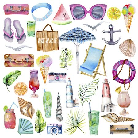 Summer, sea, beach and travel watercolor elements collection, hand painted isolated on a white background Stock Photo