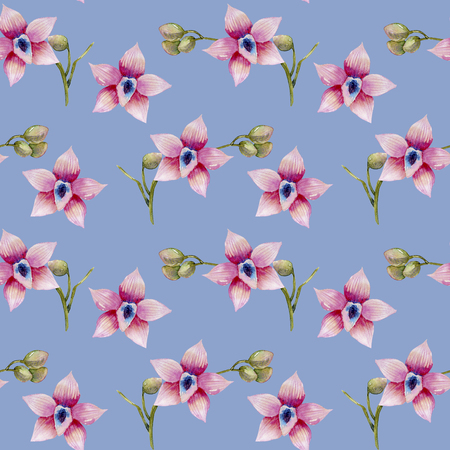 Watercolor pink orchids seamless pattern, hand painted on a blue background