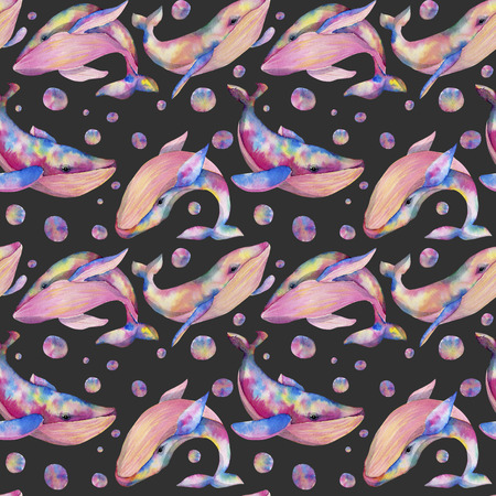 Seamless pattern with watercolor whales, hand painted on a dark background