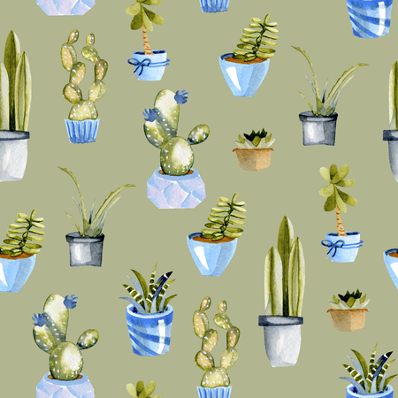 Watercolor cactuses in a blue pots seamless pattern, hand painted on a green background Banque d'images