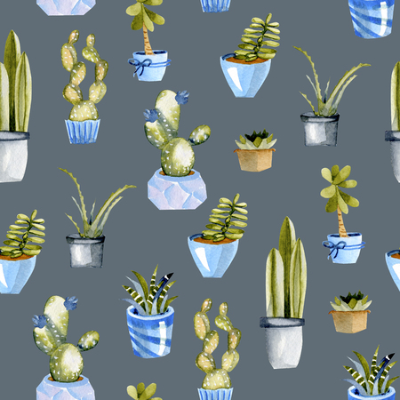 Watercolor cactuses in a blue pots seamless pattern, hand painted on a blue background