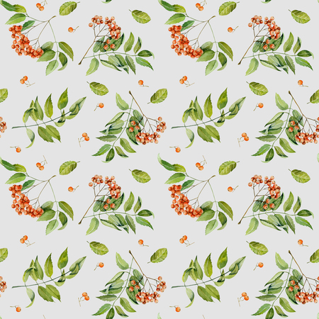 Watercolor rowan branches, berries and leaves seamless pattern, hand painted on a gray background