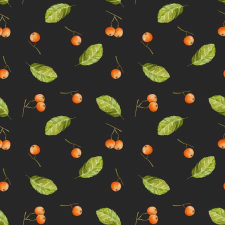 Watercolor rowan berries and leaves seamless pattern, hand painted on a dark background