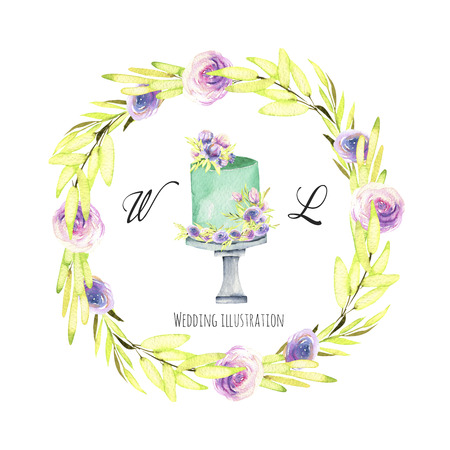 Watercolor holiday wedding cake with green and purple floral wreath illustration, wedding card design, invitation card, hand painted on a white background