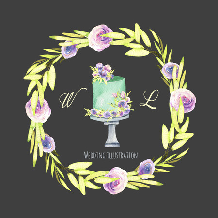 Watercolor holiday wedding cake with green and purple floral wreath illustration, wedding card design, invitation card, hand painted on a dark background