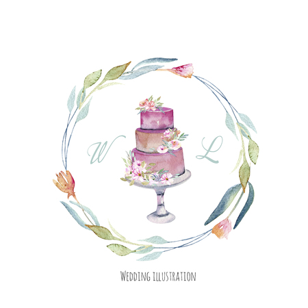 Watercolor holiday wedding cake with floral wreath, wedding card design, invitation card, hand painted on a white background